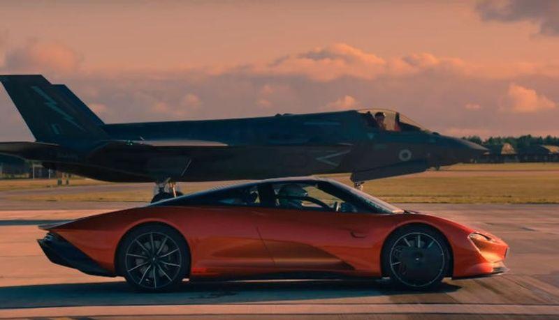 """""""بالفيديو"""" سباق شرس بين مكلارين سبيدتيل وطائرة قتالية..فمن الفائز! """