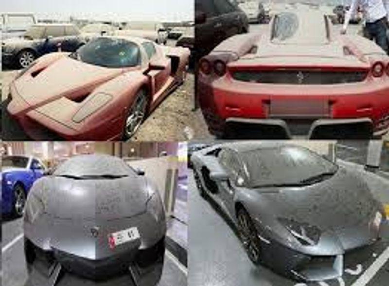 بالصور: سيارات رياضية فارهة ملقاة على الطرق في دبي