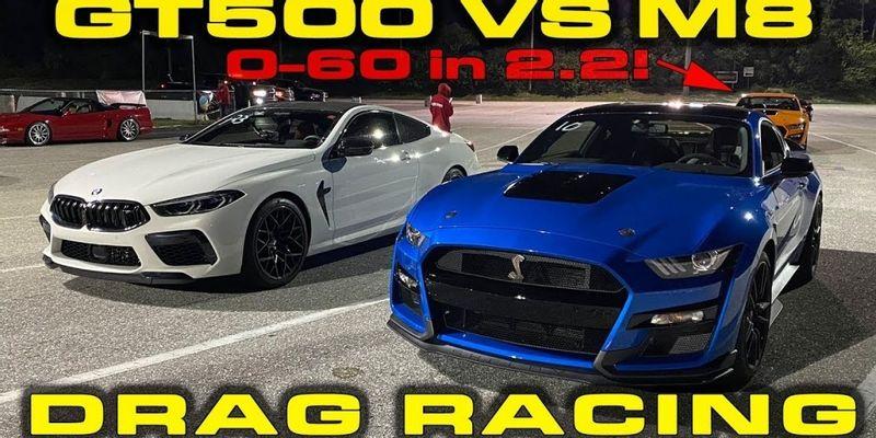 """""""بالفيديو"""" سباق شرس بين موستانج شيلبي GT500 وبي ام دبليو M8 .. فمن الفائز؟"""